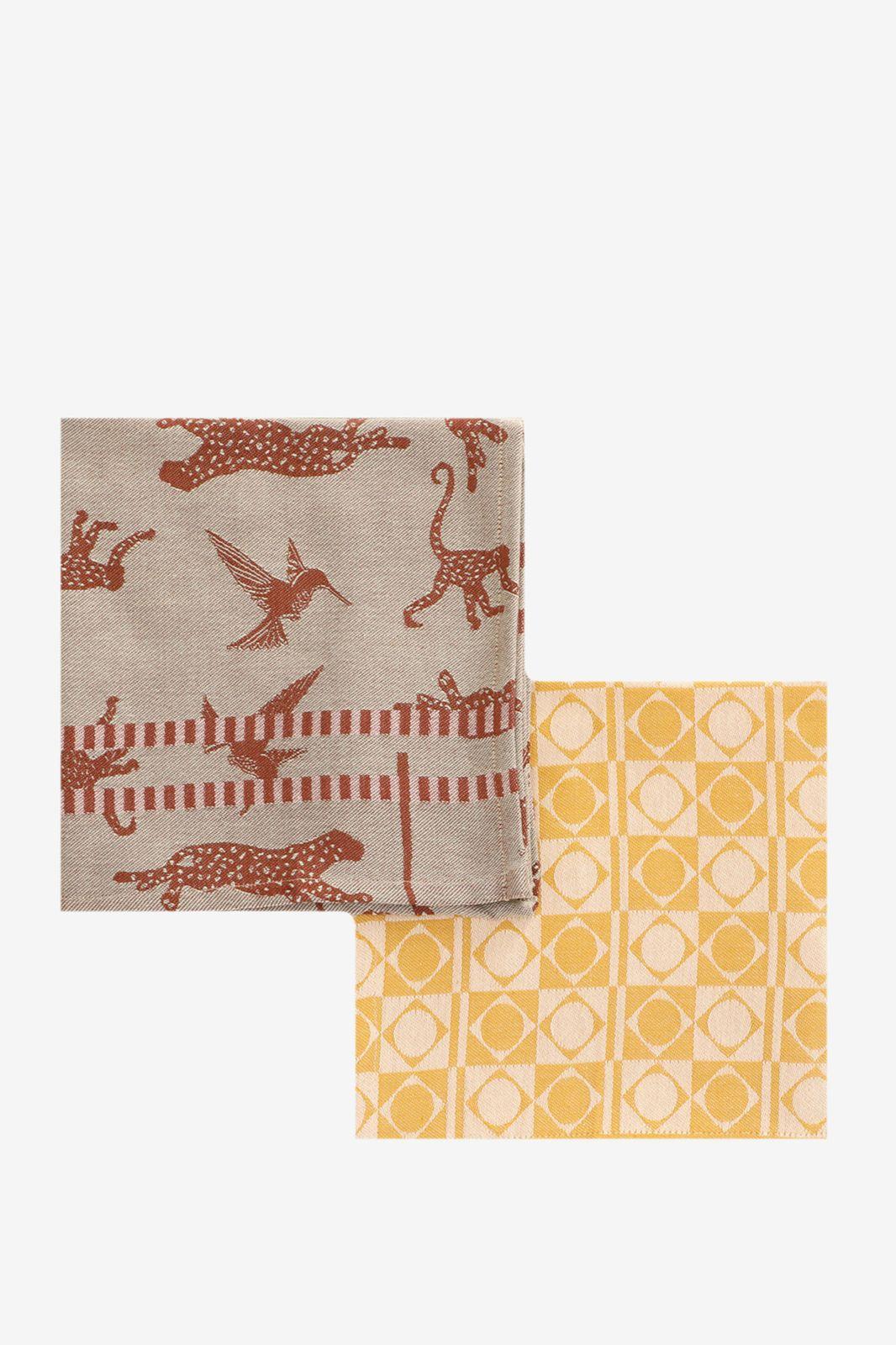 Theedoeken met jungleprint en grafisch patroon (set van 2) - Homeland | Sissy-Boy