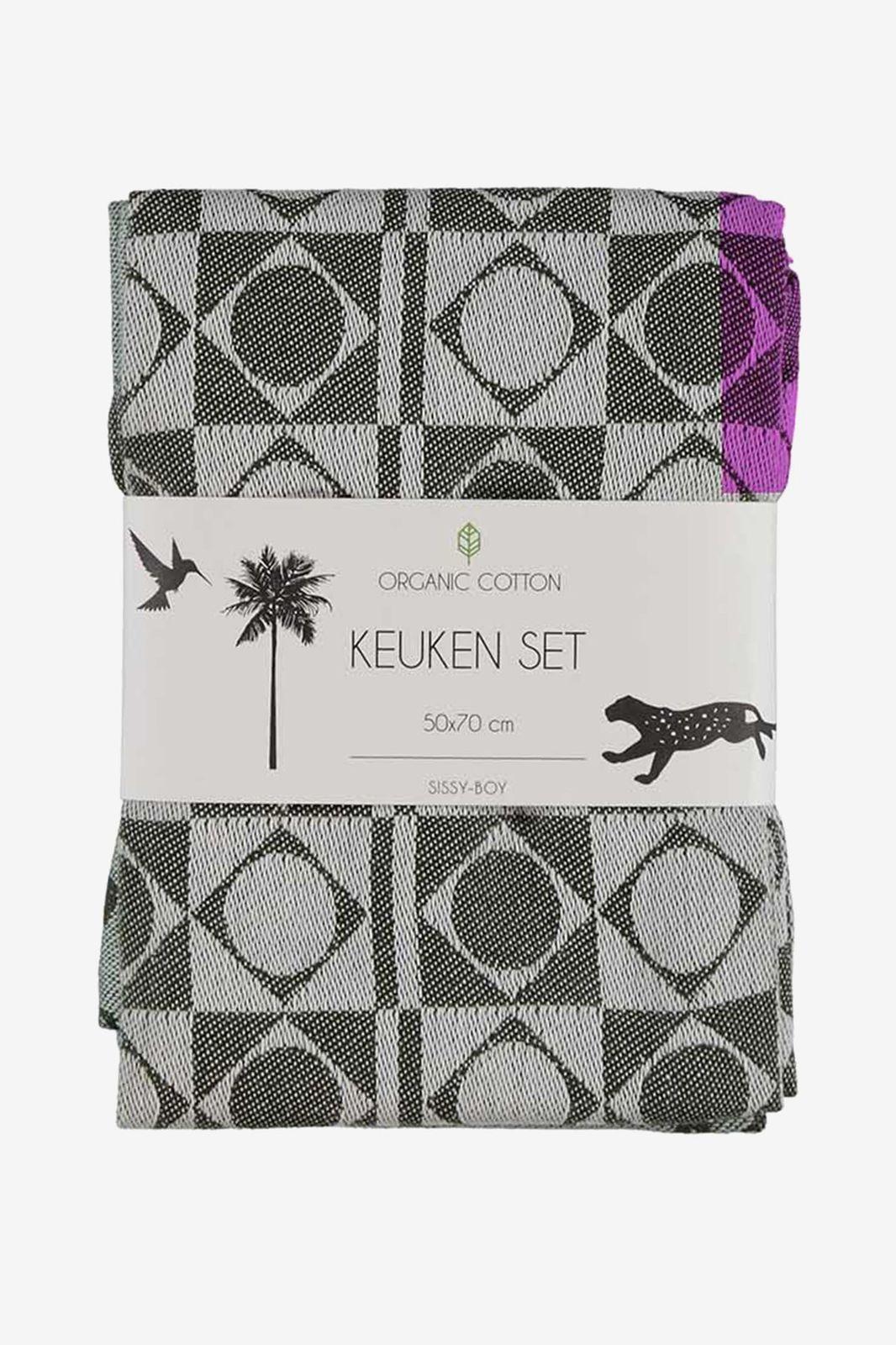 Donkergroene theedoeken met grafisch en jungle patroon (set van 2)