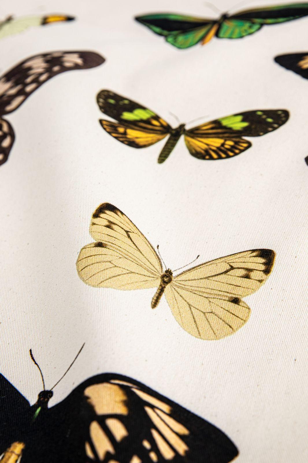 Naturel theedoek met vlinderprint