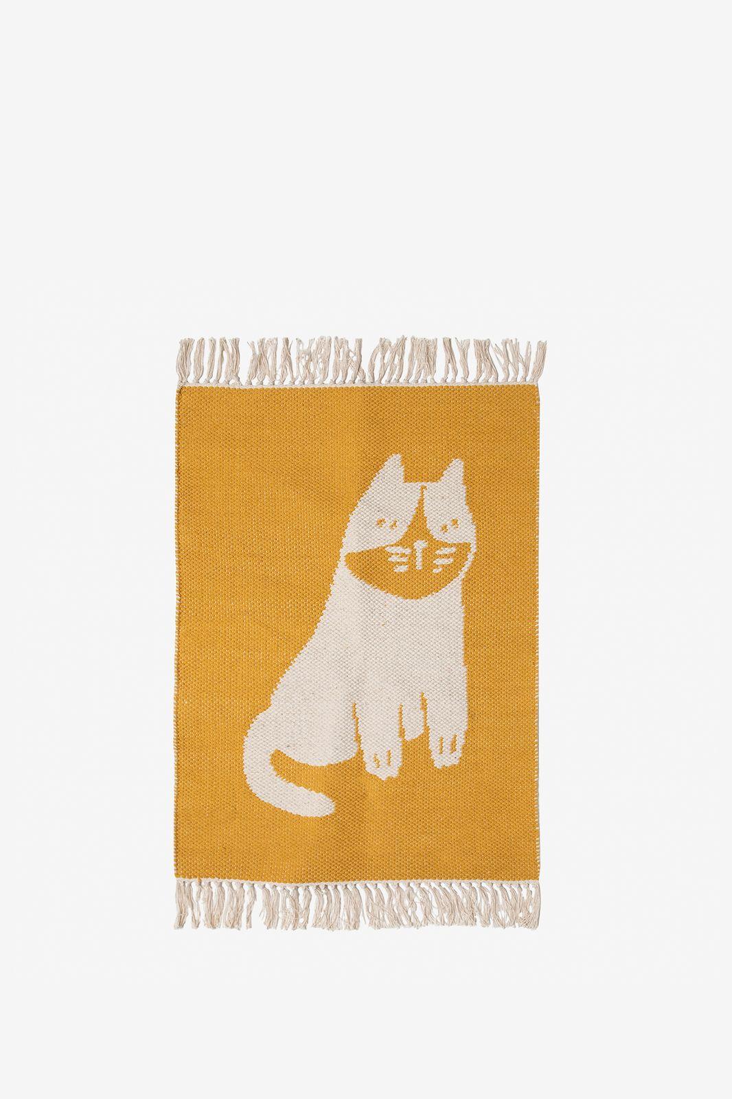 Oranje badmat met kat illustratie