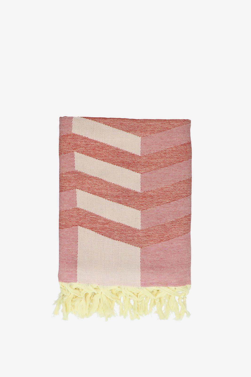 Oranje hamamdoek met zigzag print