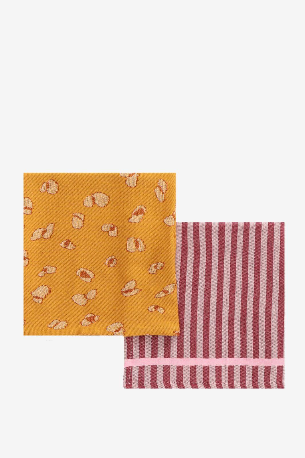 Rode en oranje theedoeken (set van 2)