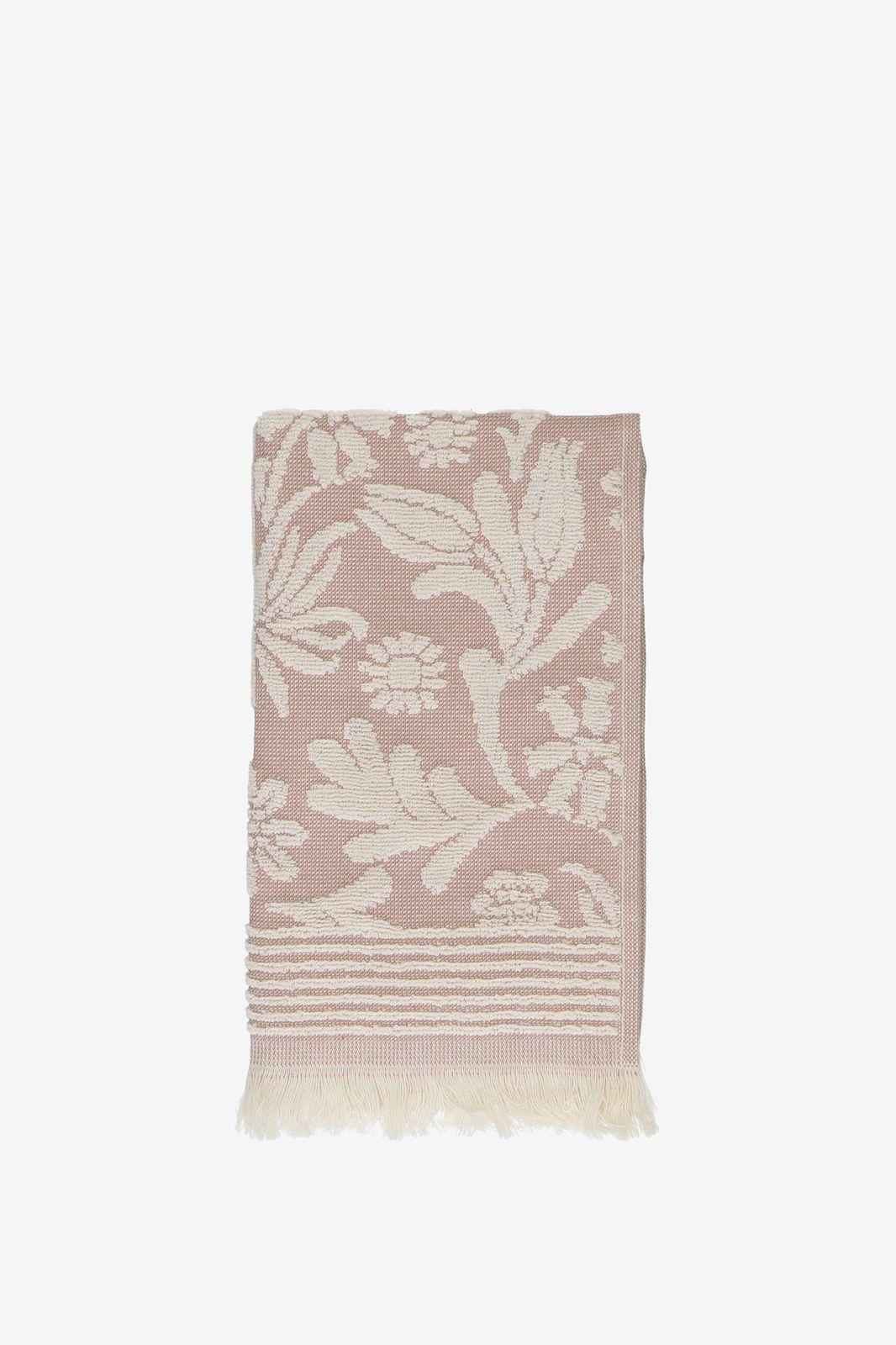 Gastendoek roze met bloemenprint
