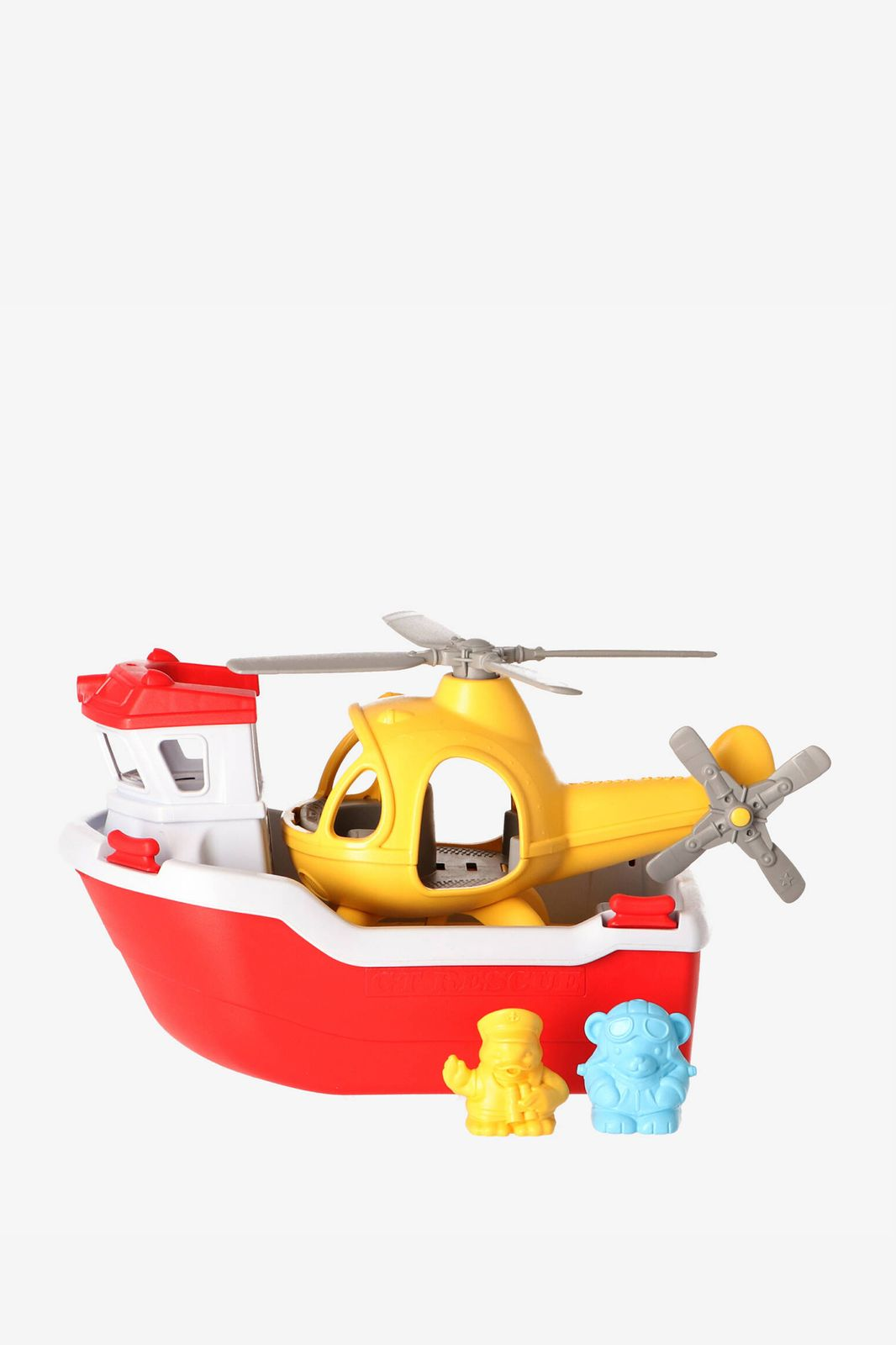 Reddingsboot en helikopter