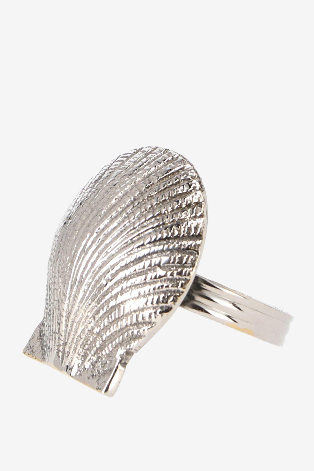 Zilveren bestekring schelp