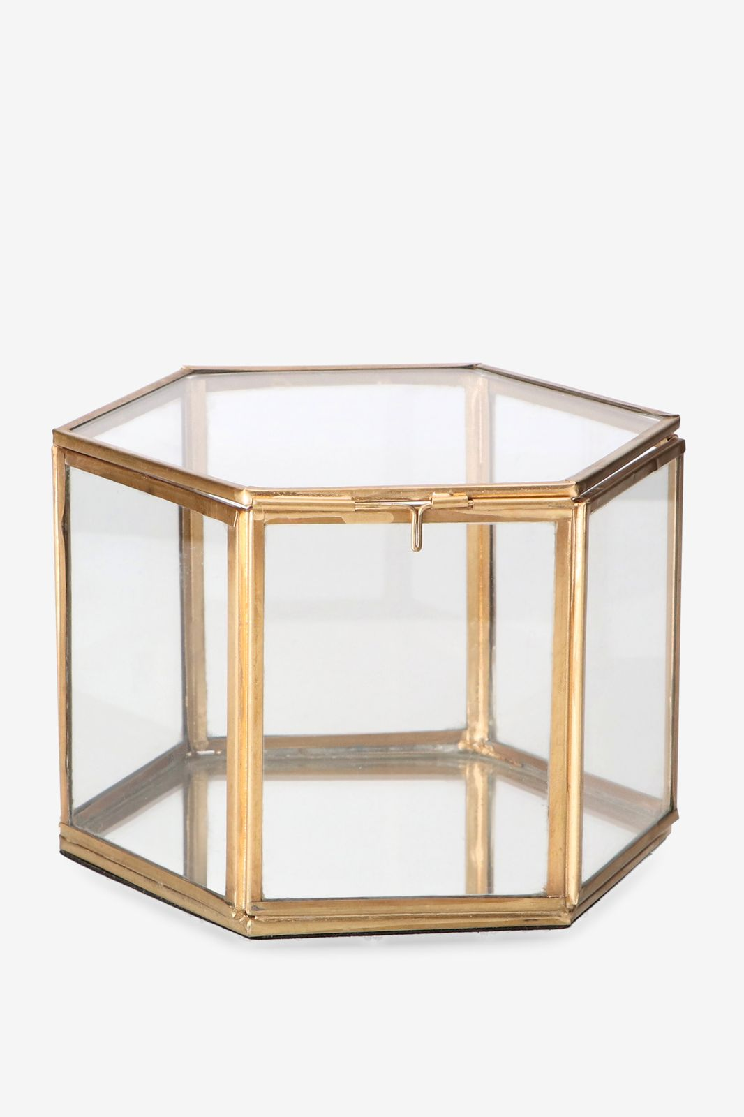 Gouden glazen box hexagon hoog