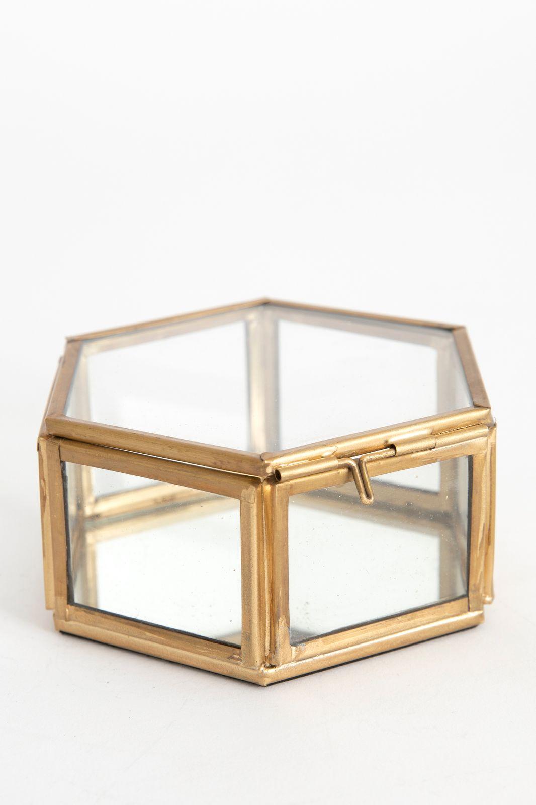 Gouden glazen box hexagon
