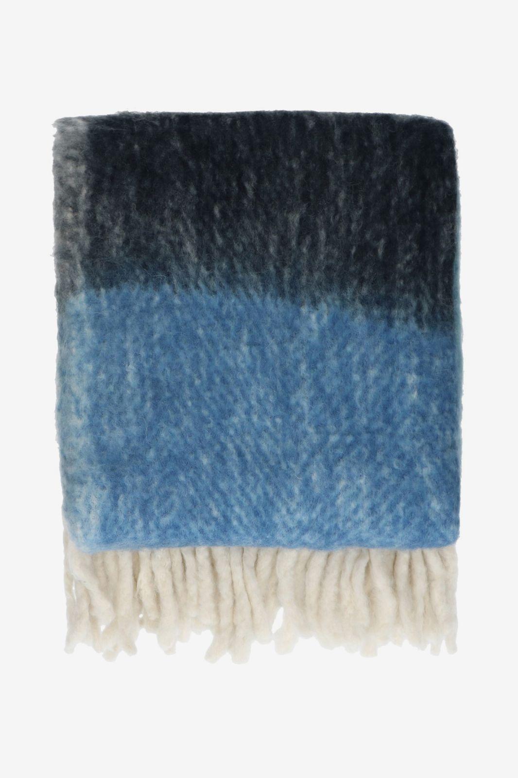 Blauw deken met strepen