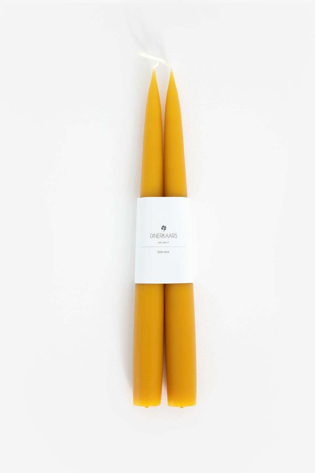 Set van 2 gele dinerkaarsen 25 cm - Homeland | Sissy-Boy