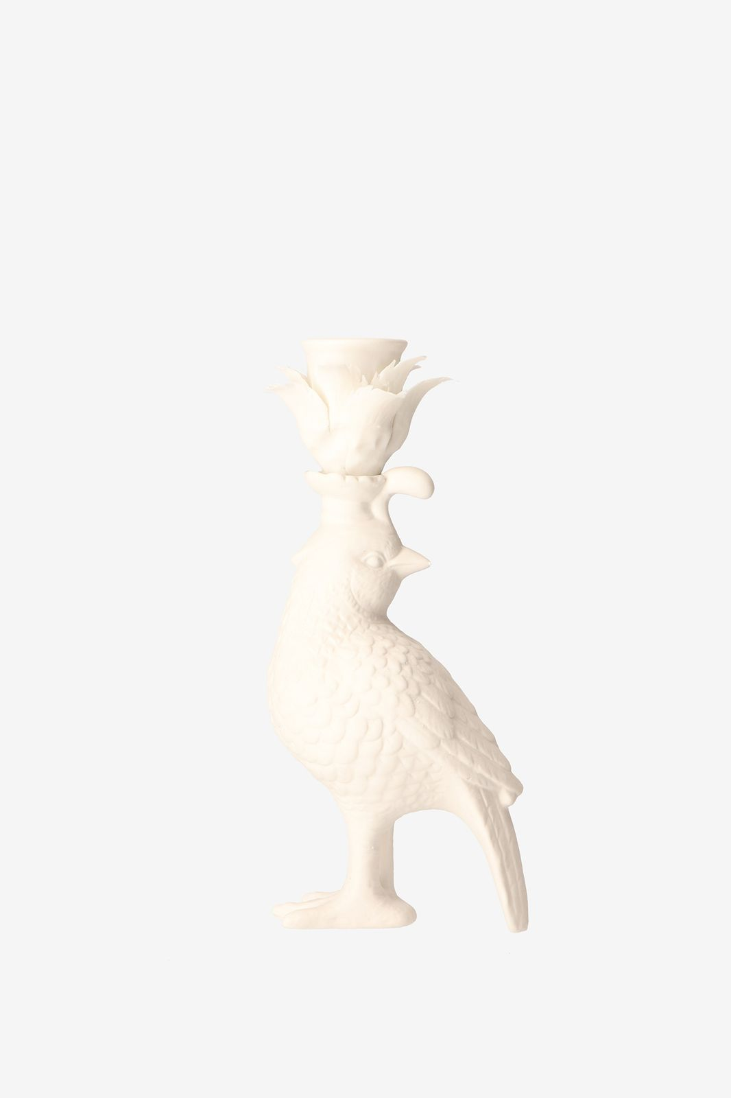 Porseleinen kandelaar vogel