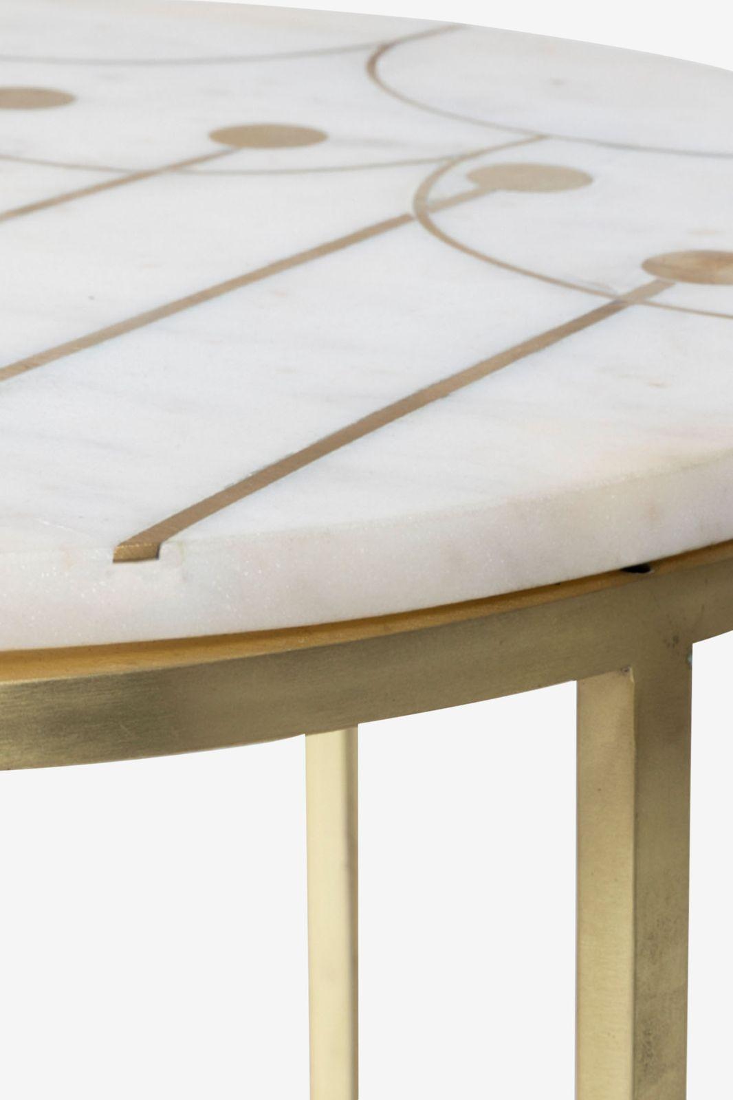 Gouden ronde bijzettafel met marmer