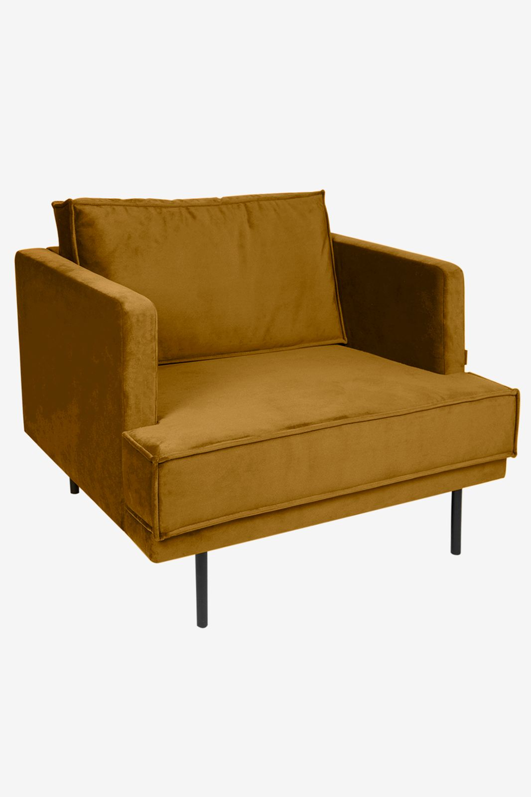 The Duchess velvet loveseat okergeel
