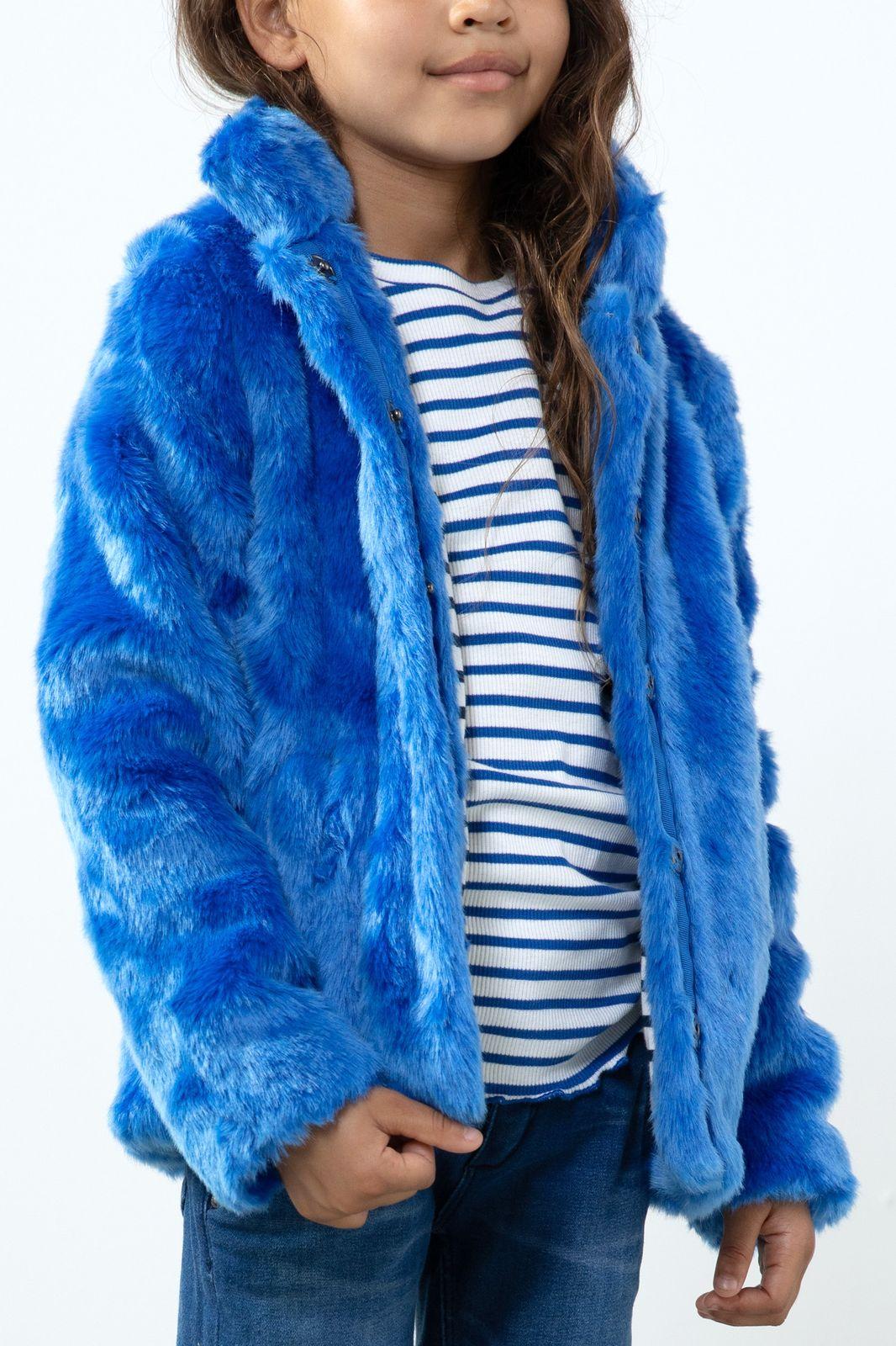 Blauwe faux fur jas