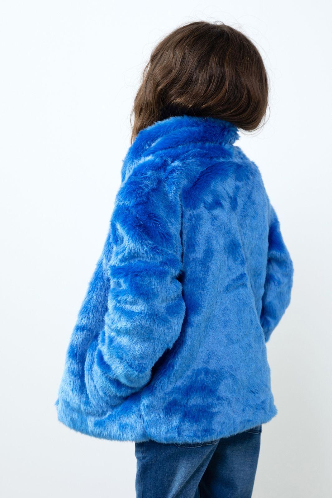 Blauwe faux fur jas Essential - Kids | Sissy-Boy