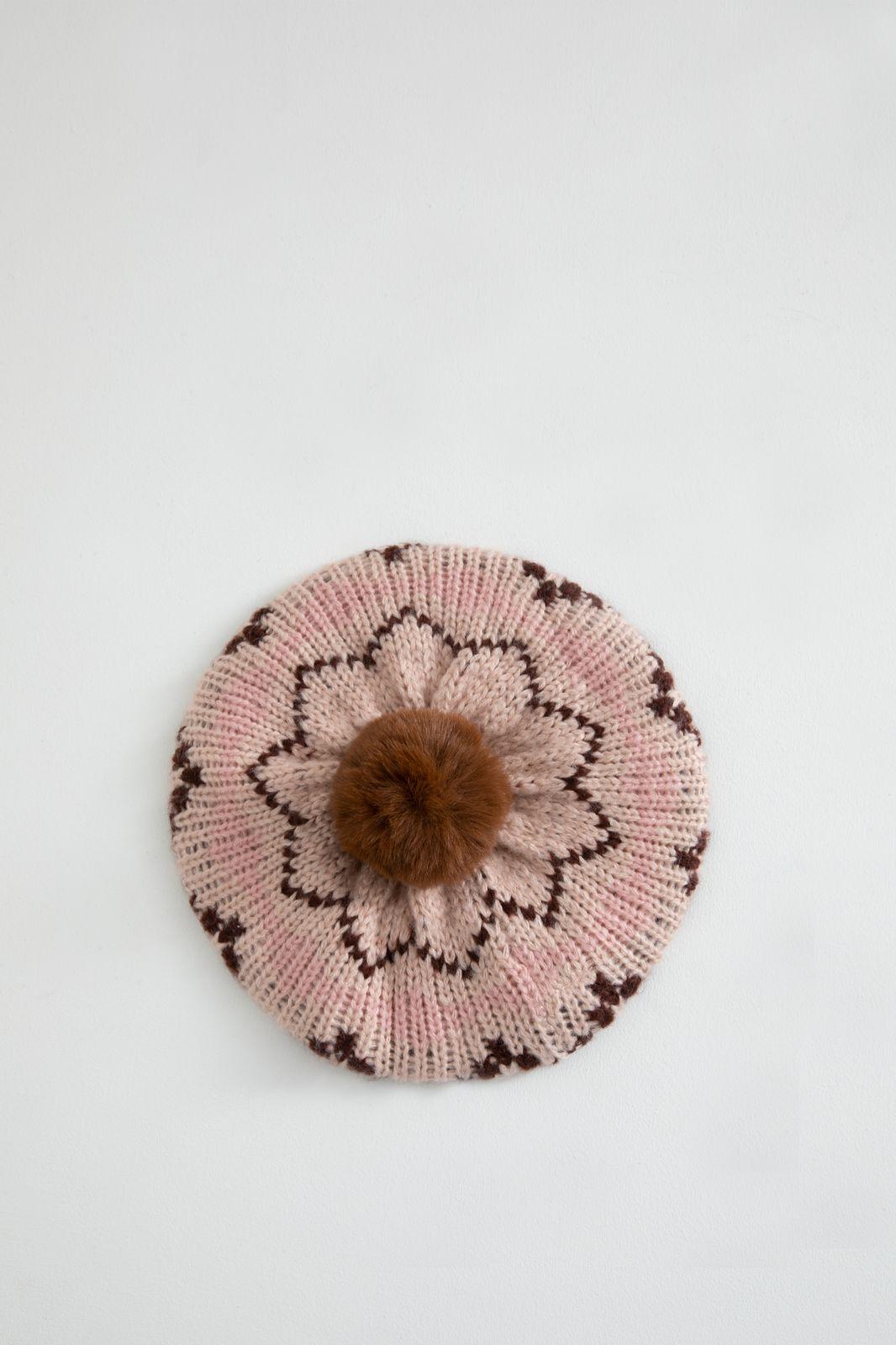Roze jacquard baret met pompom girls - Kids | Sissy-Boy