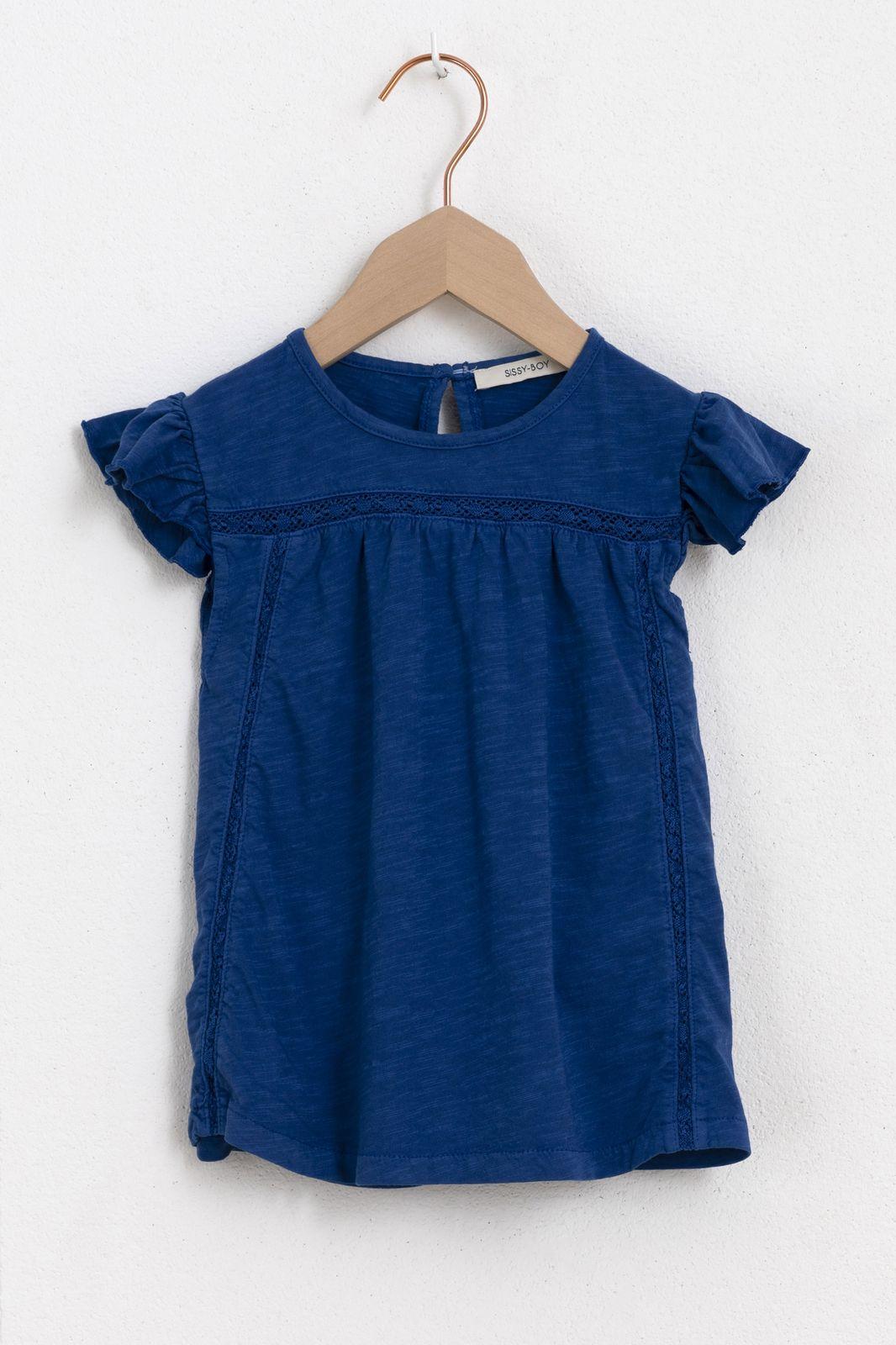 Donkerblauw t-shirt met ruffle kapmouw