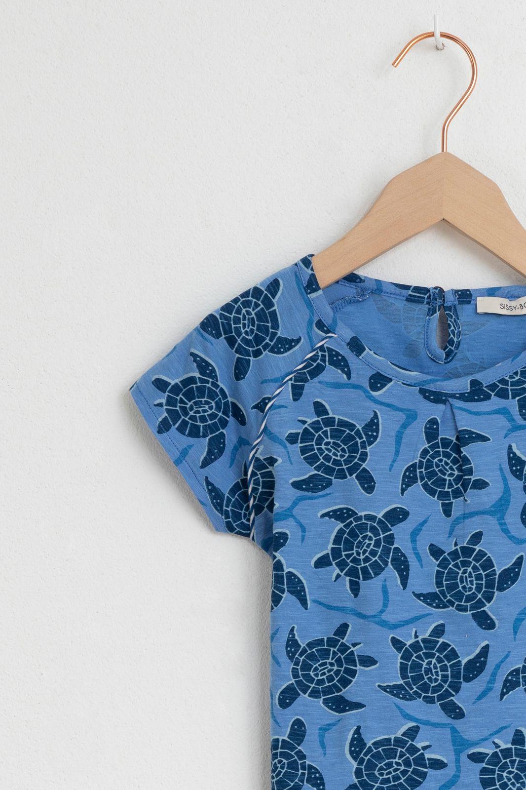 Blauw t-shirt met schildpadden - Kids | Sissy-Boy