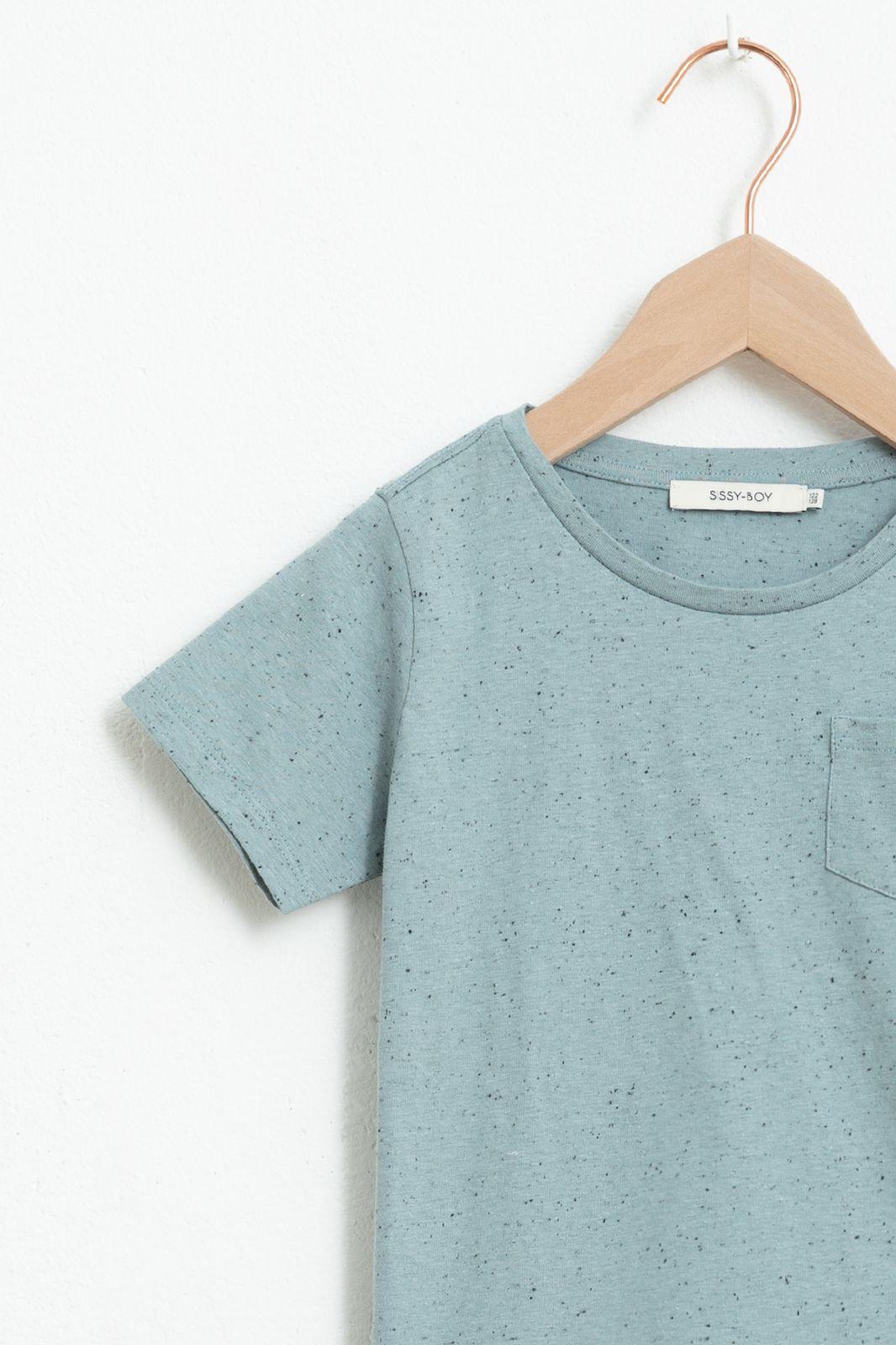 Blauw T-shirt met korte mouw en neps