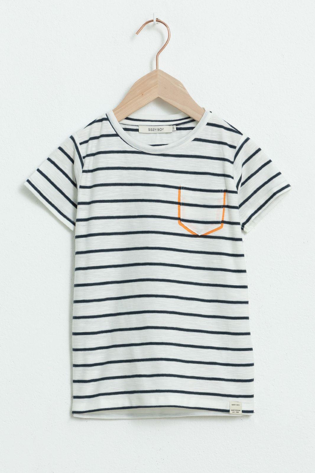 Blauw gestreept T-shirt met korte mouwen - Kids | Sissy-Boy