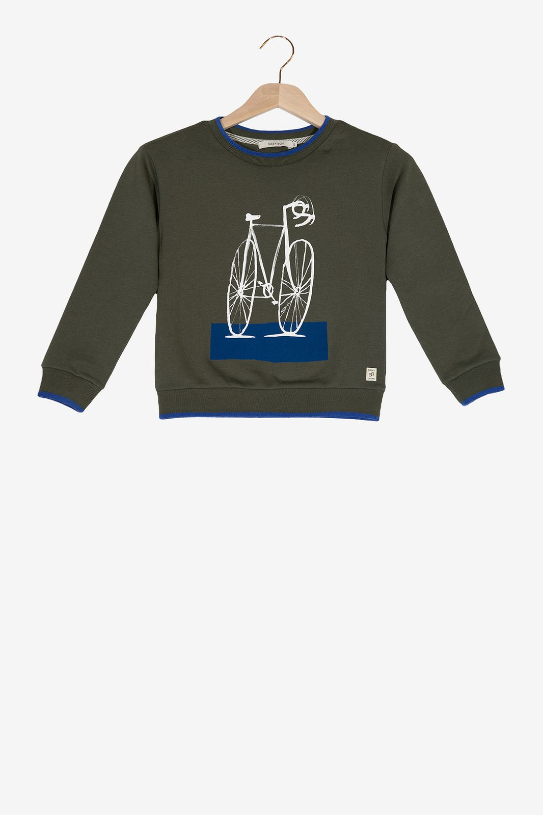 Donkergroene sweater fiets