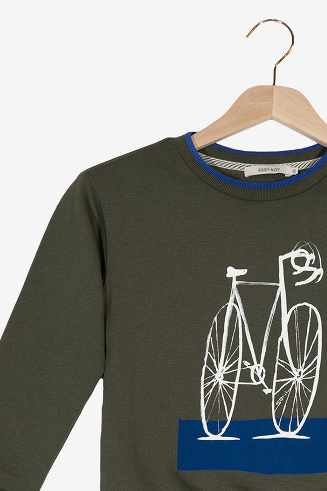 Donkergroene sweater fiets - Kids | Sissy-Boy
