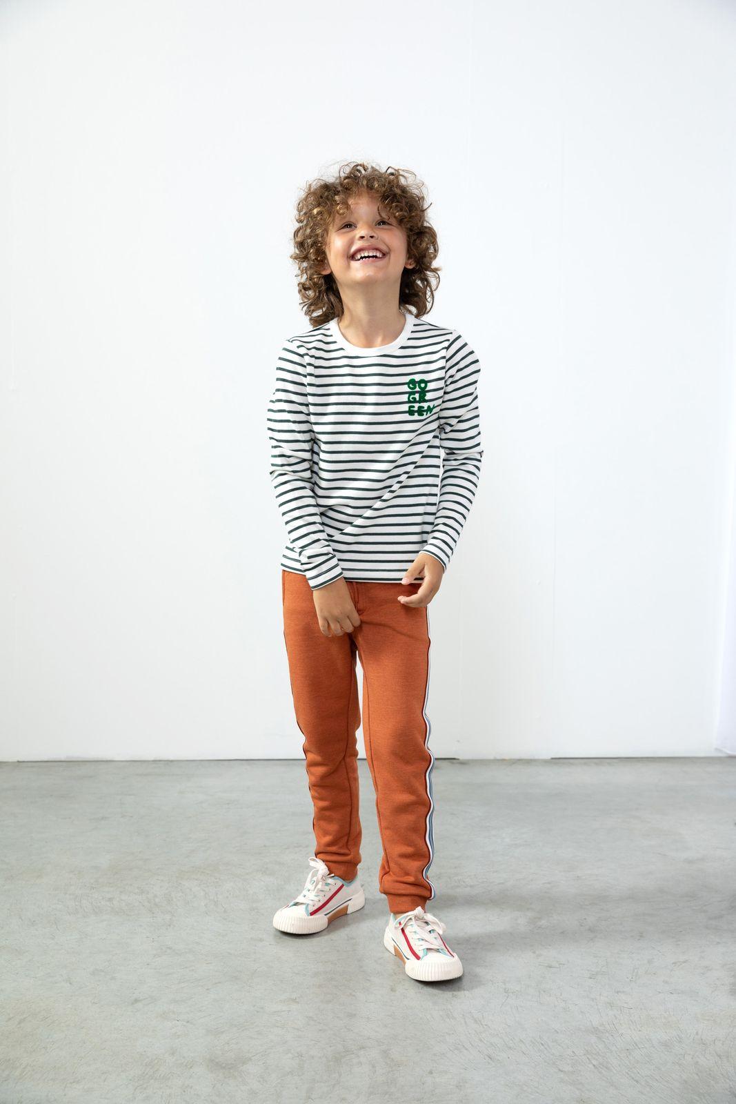 Donkergroen T-shirt gestreept - Kids   Sissy-Boy