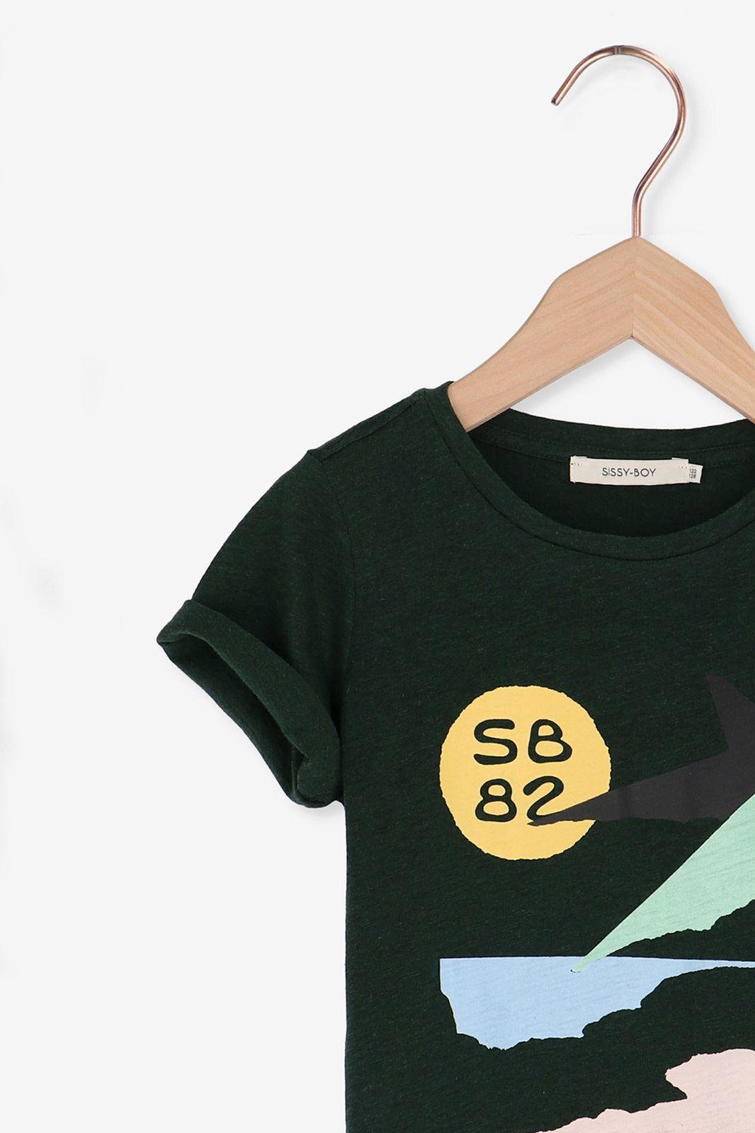 Donkergroen t-shirt met print - Kids   Sissy-Boy