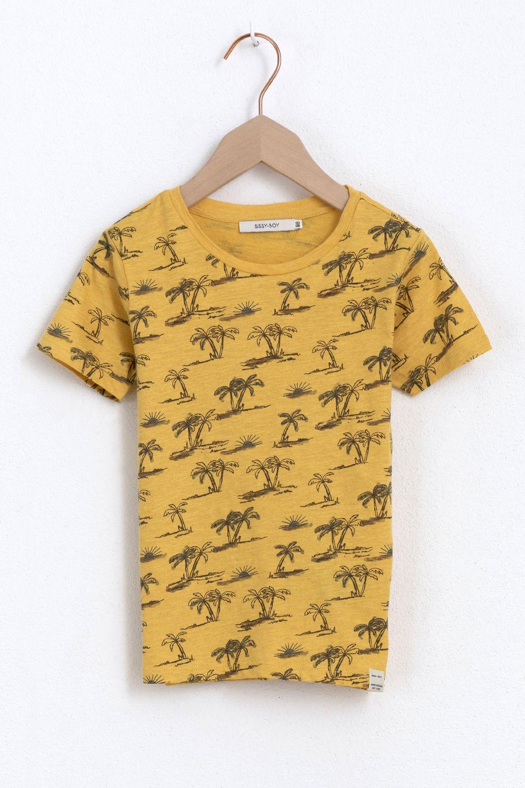 Geel T-shirt met korte mouw en palmbomen