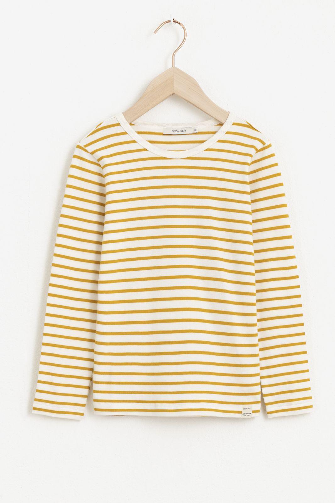 Geel gestreept T-shirt met lange mouw