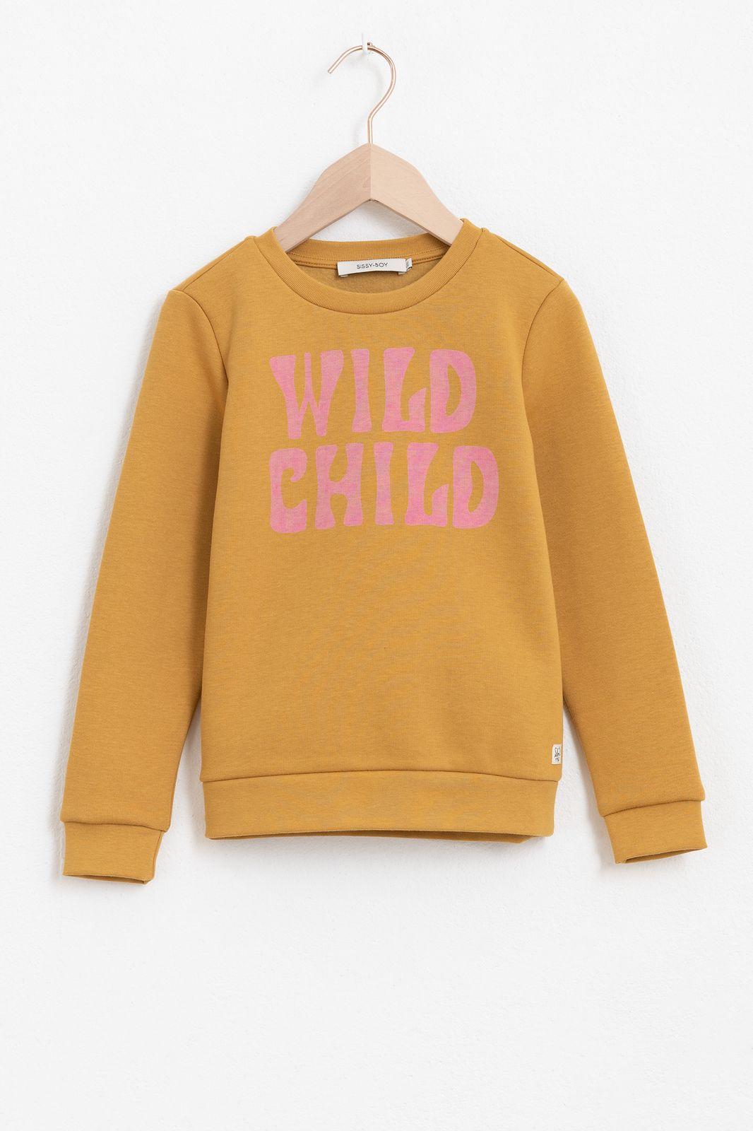 Okergele sweater met tekst