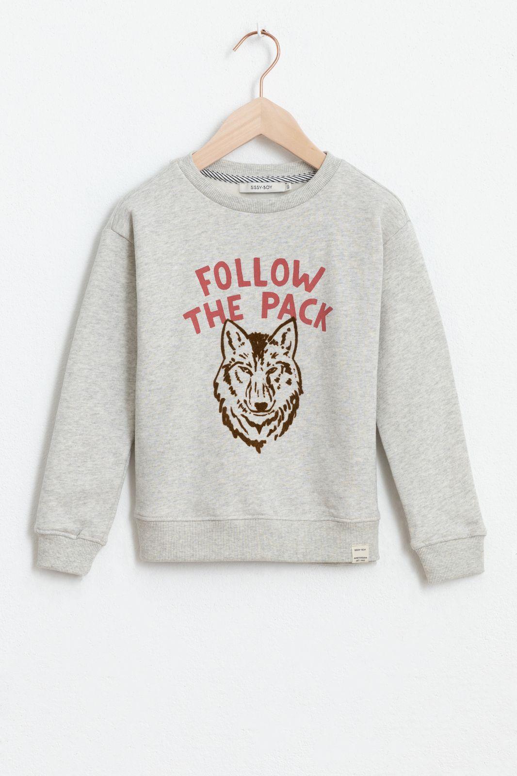 Grijze sweater met tekst en artwork - Kids   Sissy-Boy