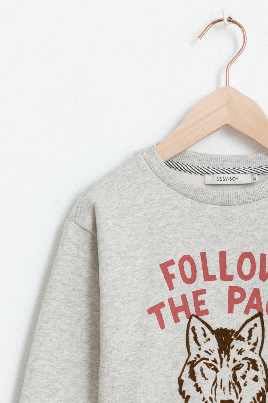Grijze sweater met tekst en artwork