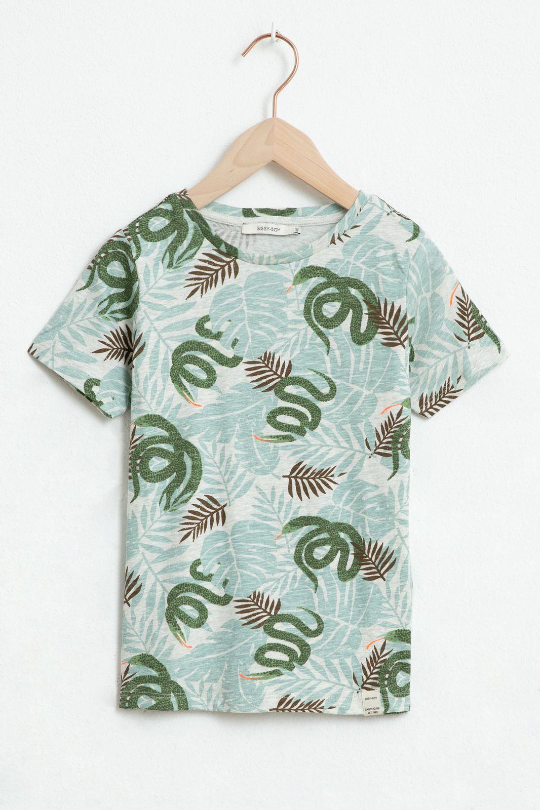 Grijs T-shirt met all over snake print en korte mouw