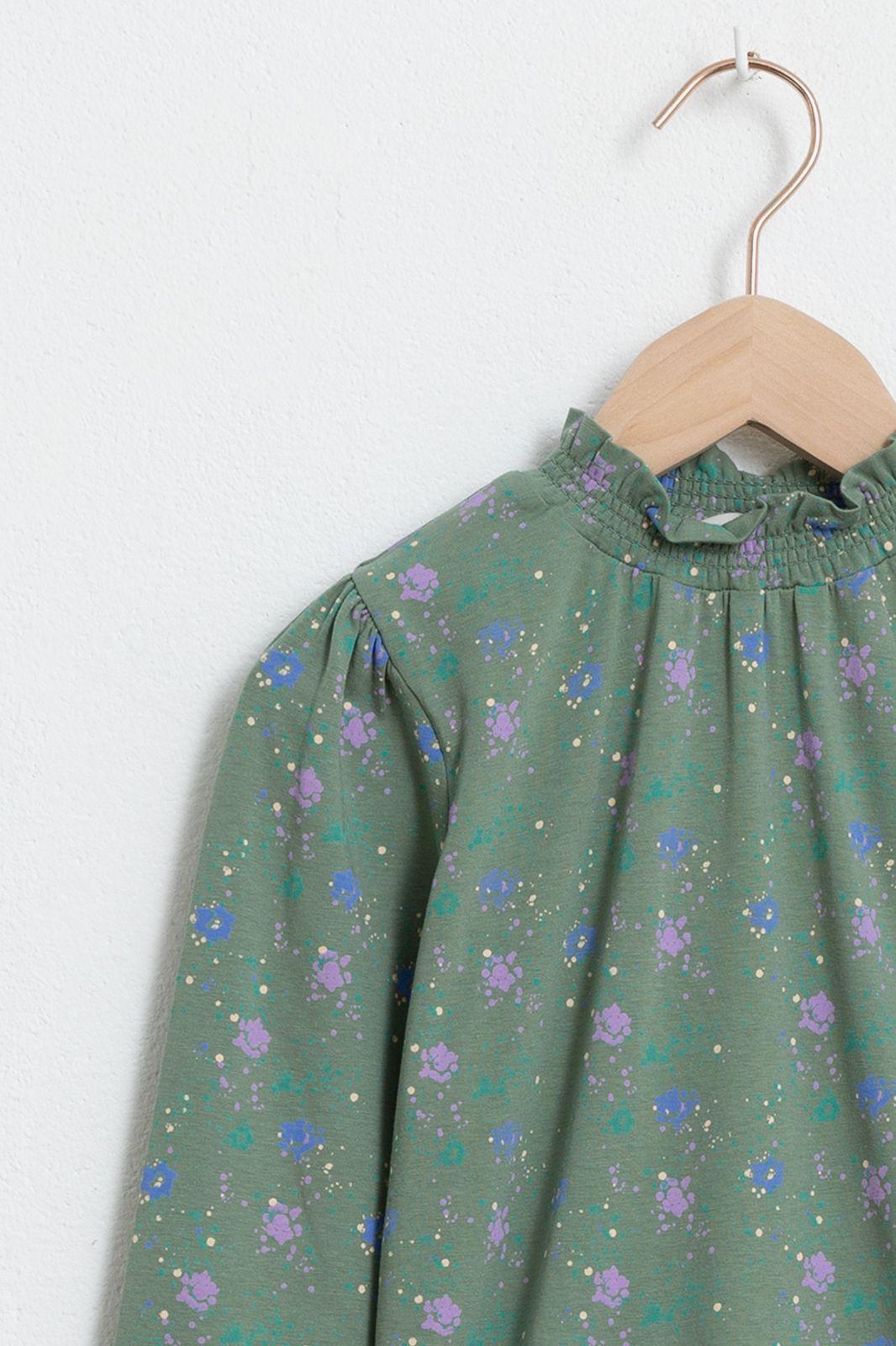 Groene flower T-shirt met lange mouw en ruffle details
