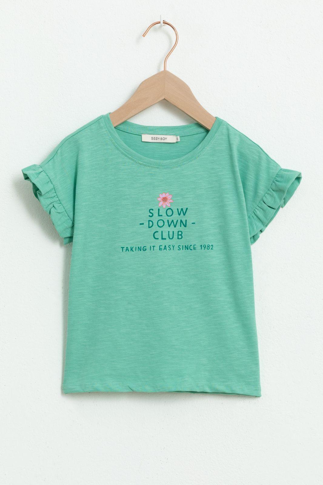 Groen T-shirt met korte ruffle mouw en tekst - Kids | Sissy-Boy