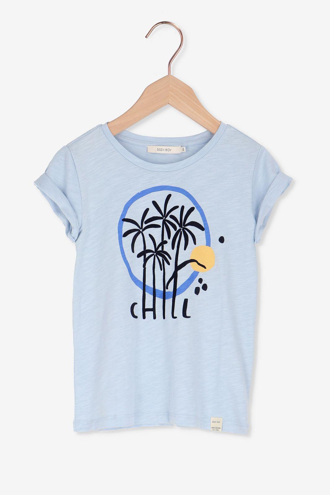 Blauw t-shirt met palmbomen