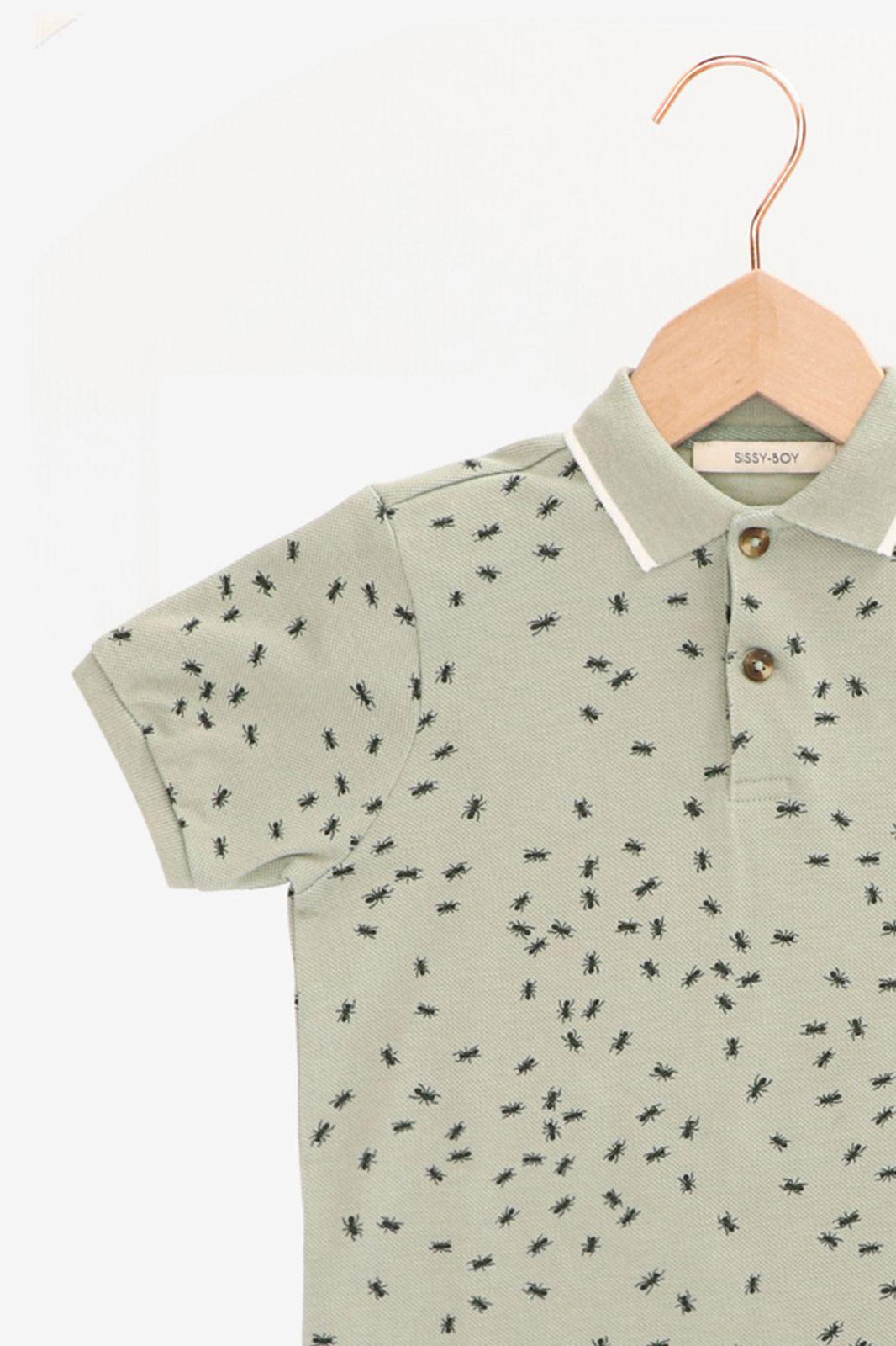 Groene polo met mierenprint