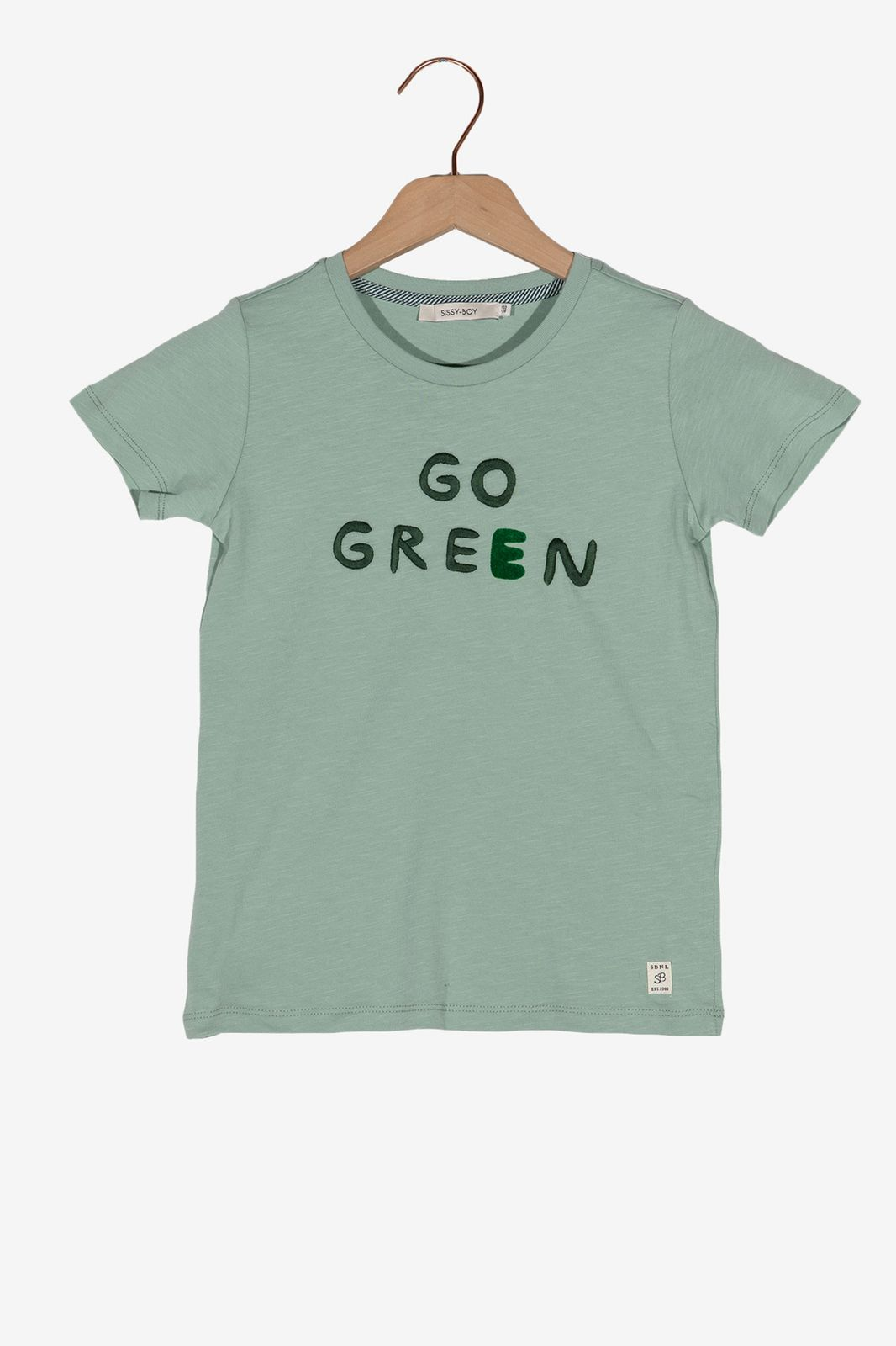 Lichtgroen t-shirt Go Green - Kids | Sissy-Boy