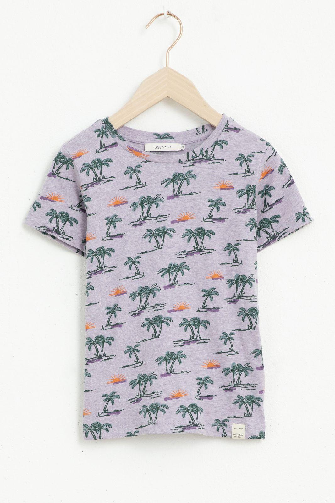 Paars T-shirt met korte mouw en all over plamboom print