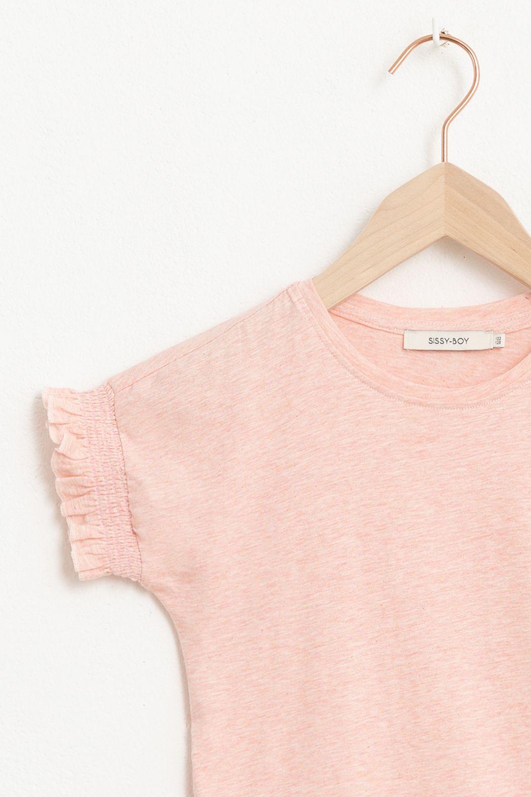 Roze T-shirt met korte ruffle mouw en artwork - Kids | Sissy-Boy