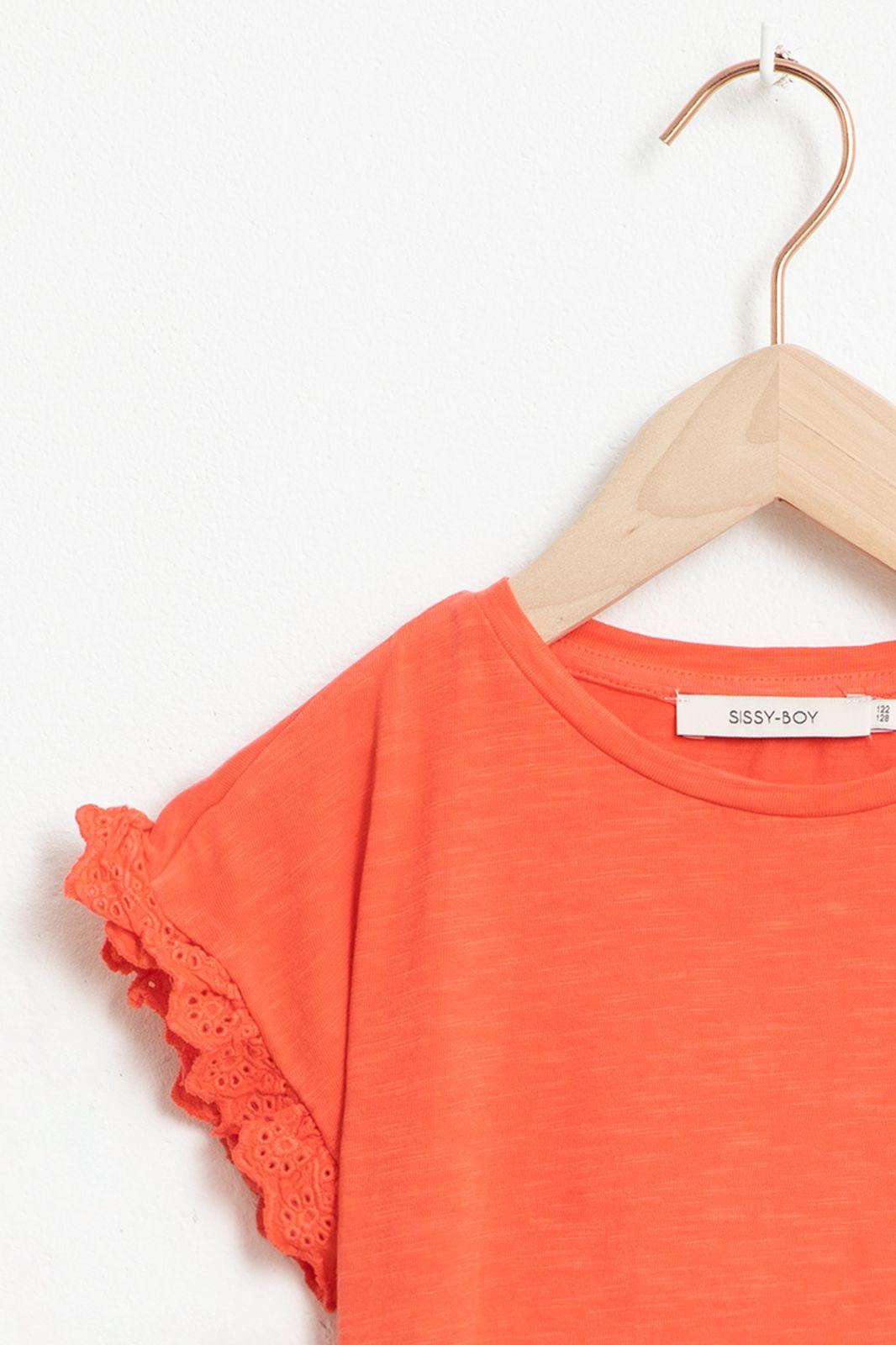 Roze T-shirt met korte ruffle mouw - Kids | Sissy-Boy