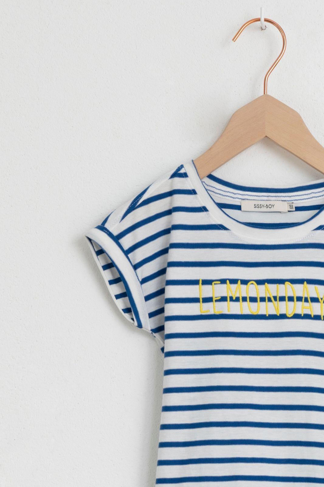Blauw gestreept t-shirt lemondays