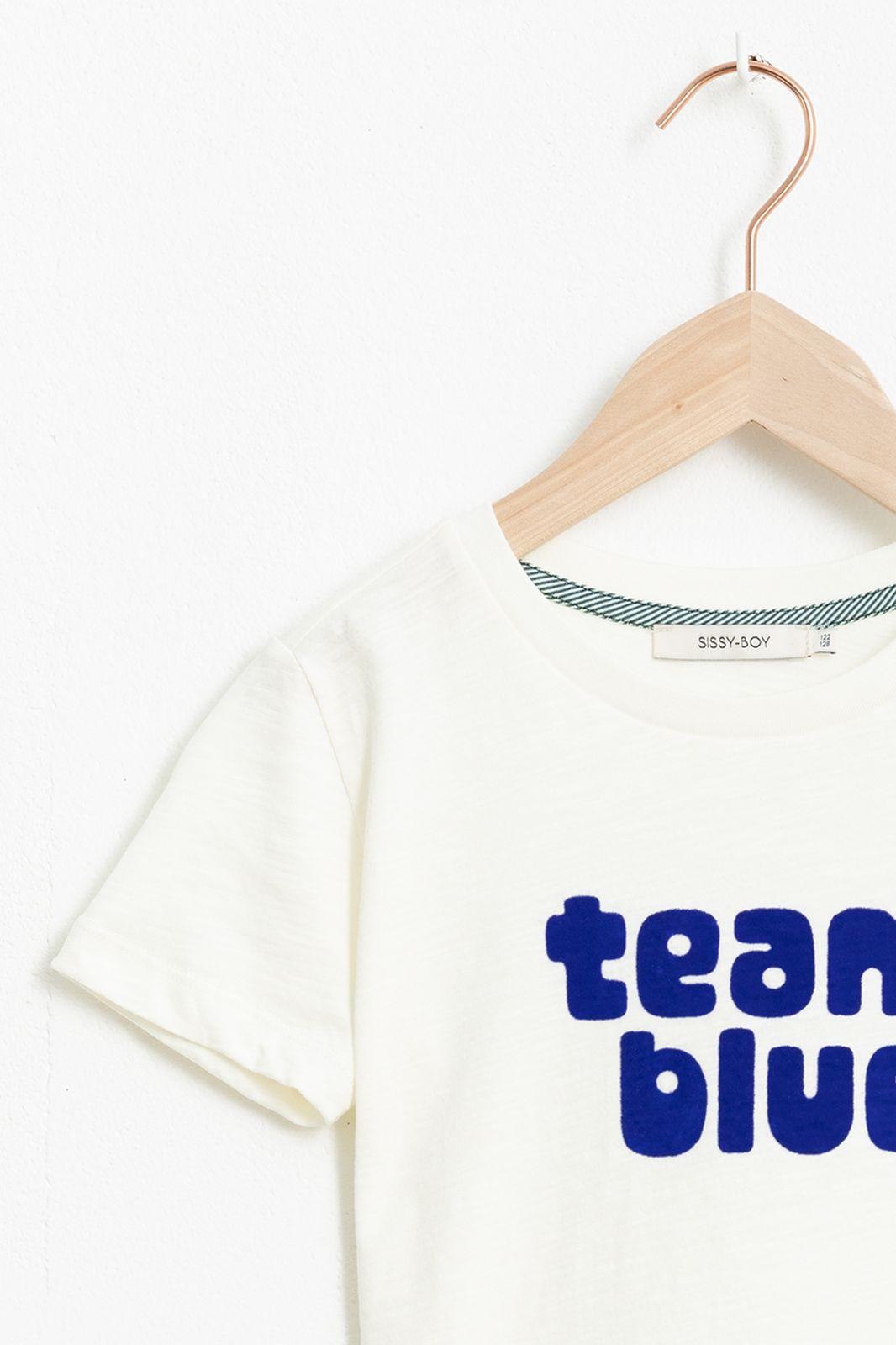 Wit T-shirt met korte mouw en tekst