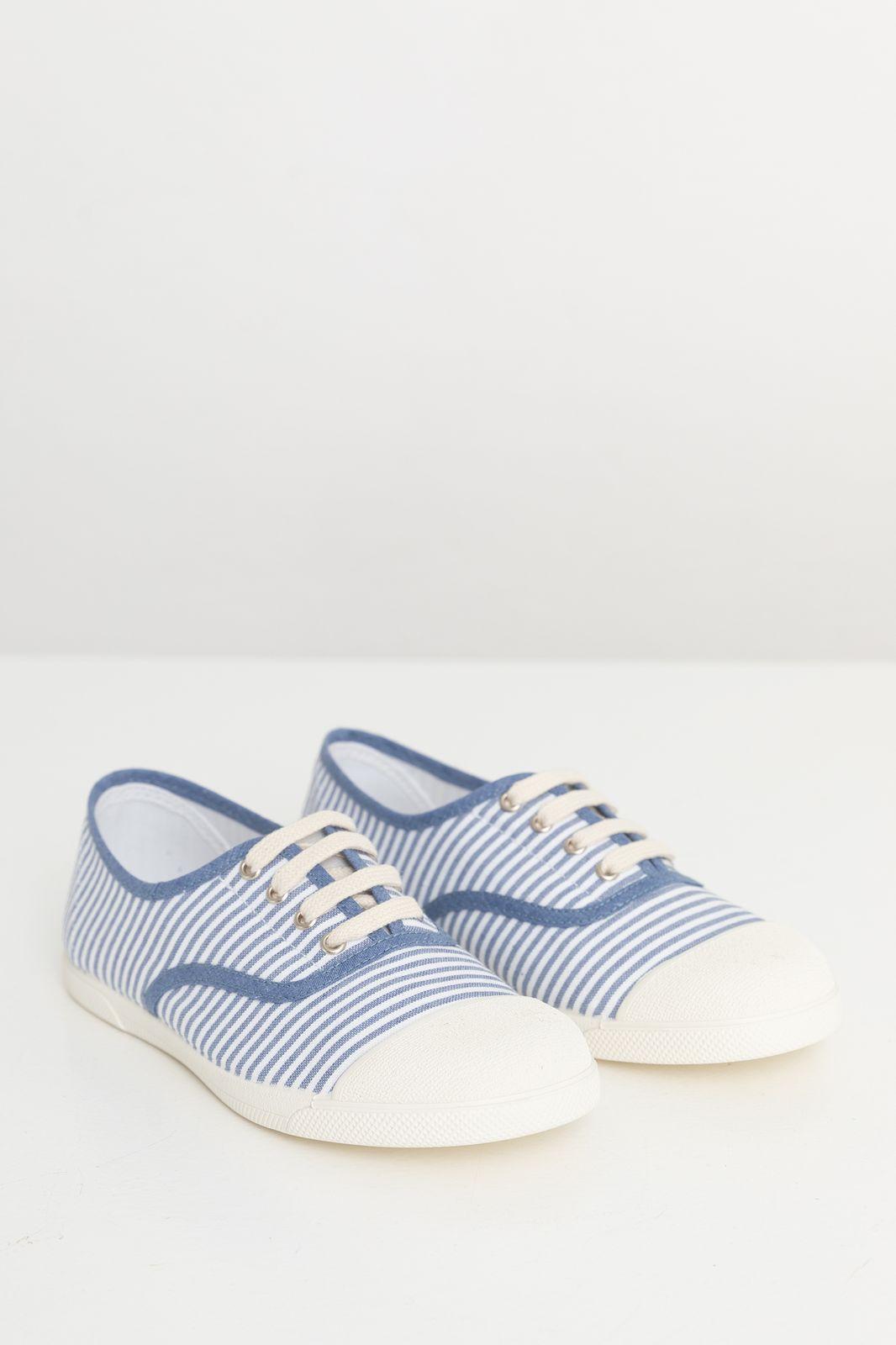Blauw gestreepte canvas sneaker - Kids | Sissy-Boy