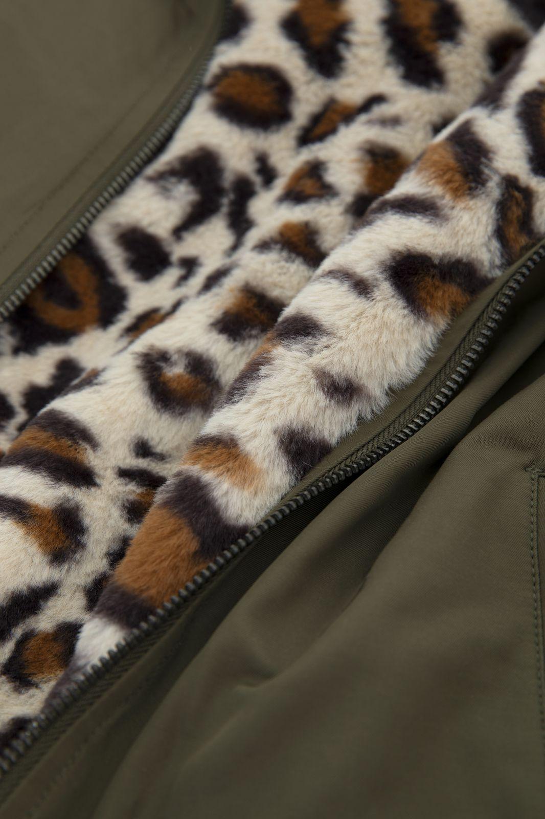 Groene reversible jas leopard fake fur - Kids | Sissy-Boy