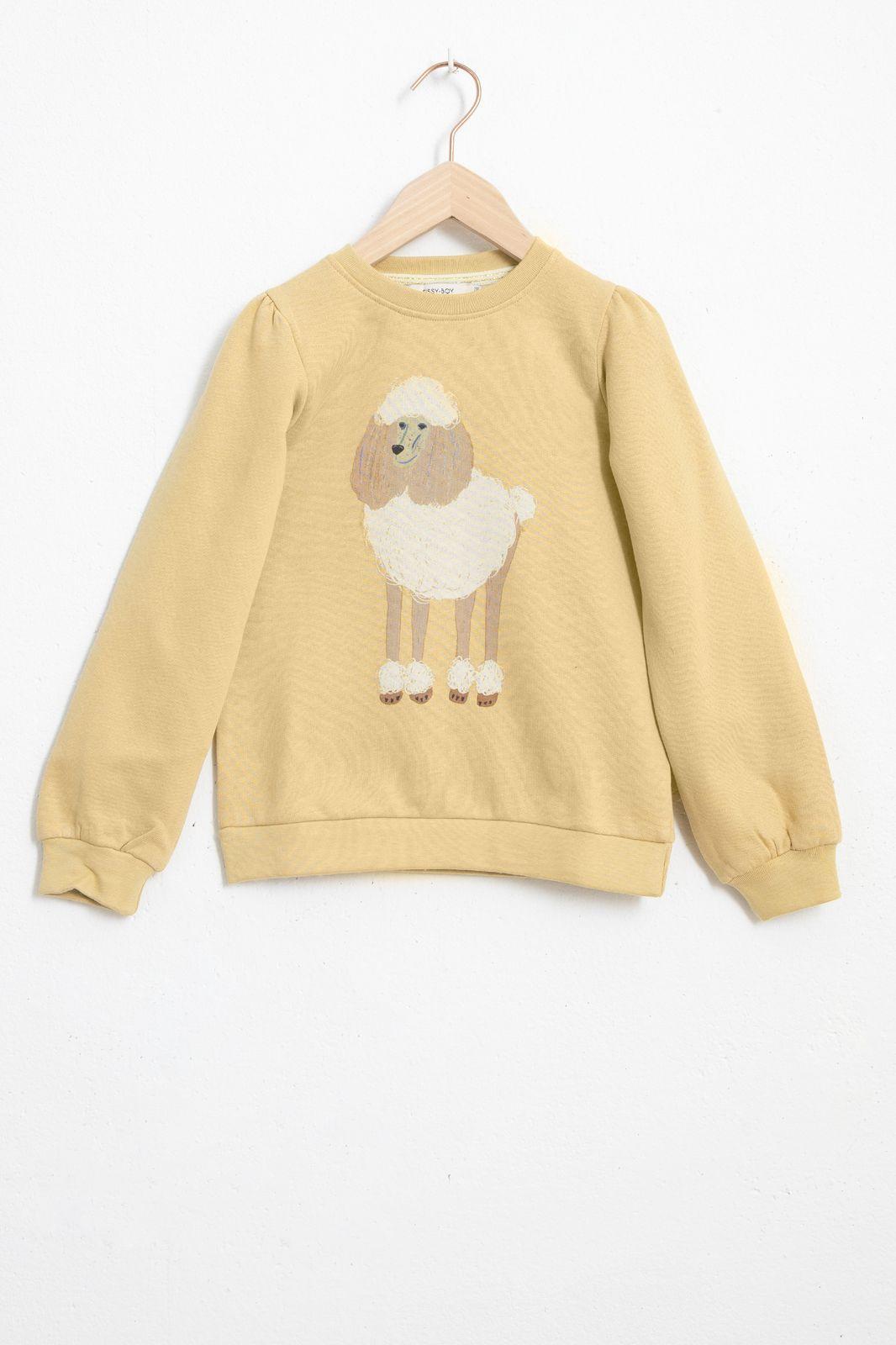 Beige sweater met hond en ballonmouwen - Kids | Sissy-Boy