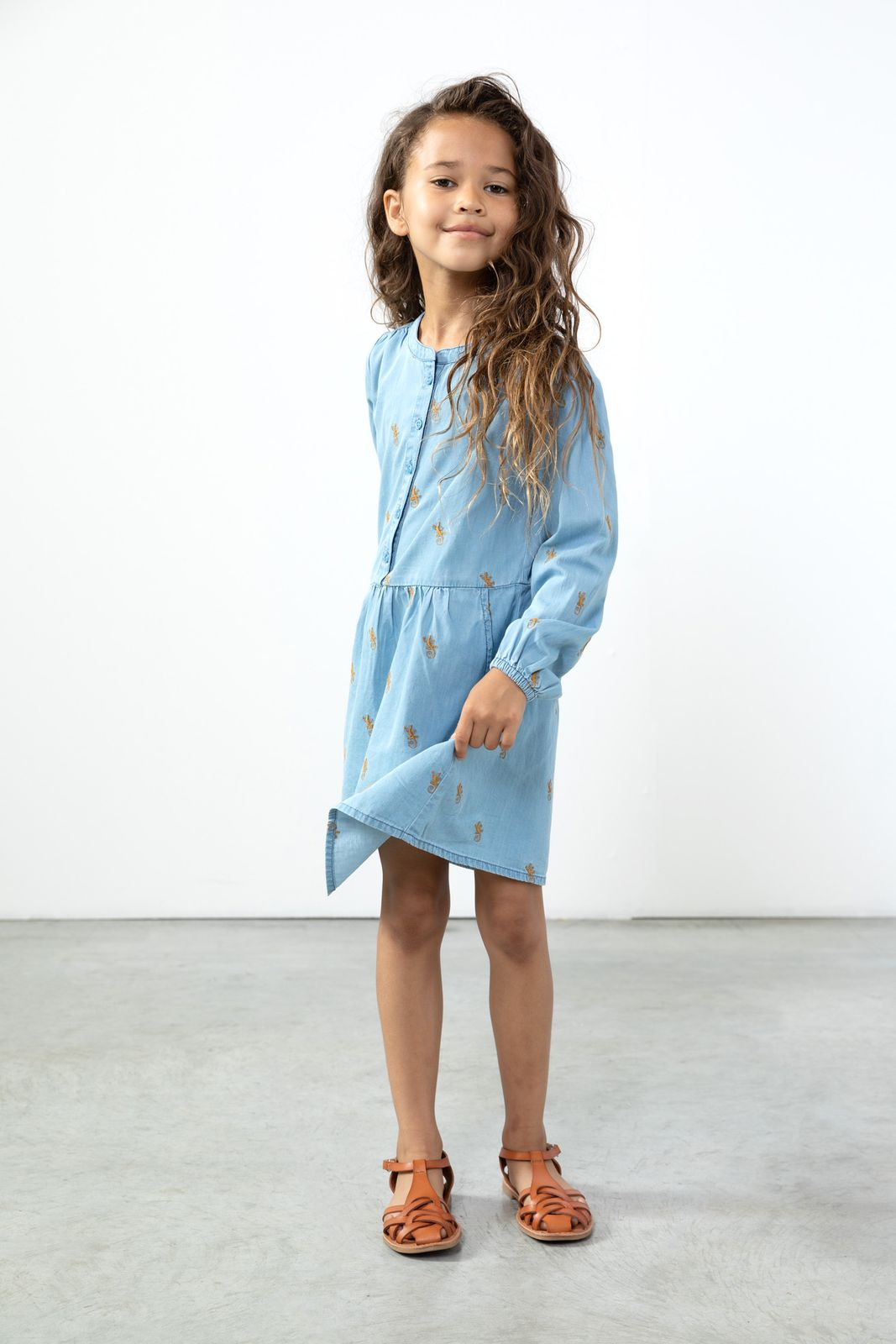 Denim jurk met gekko embroidery - Kids | Sissy-Boy