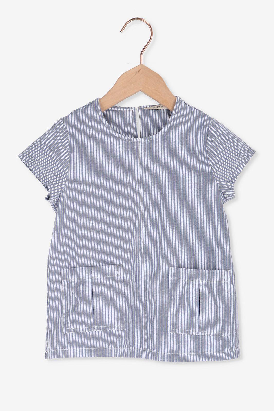 Blauw gestreept t-shirt met zakjes - Kids | Sissy-Boy