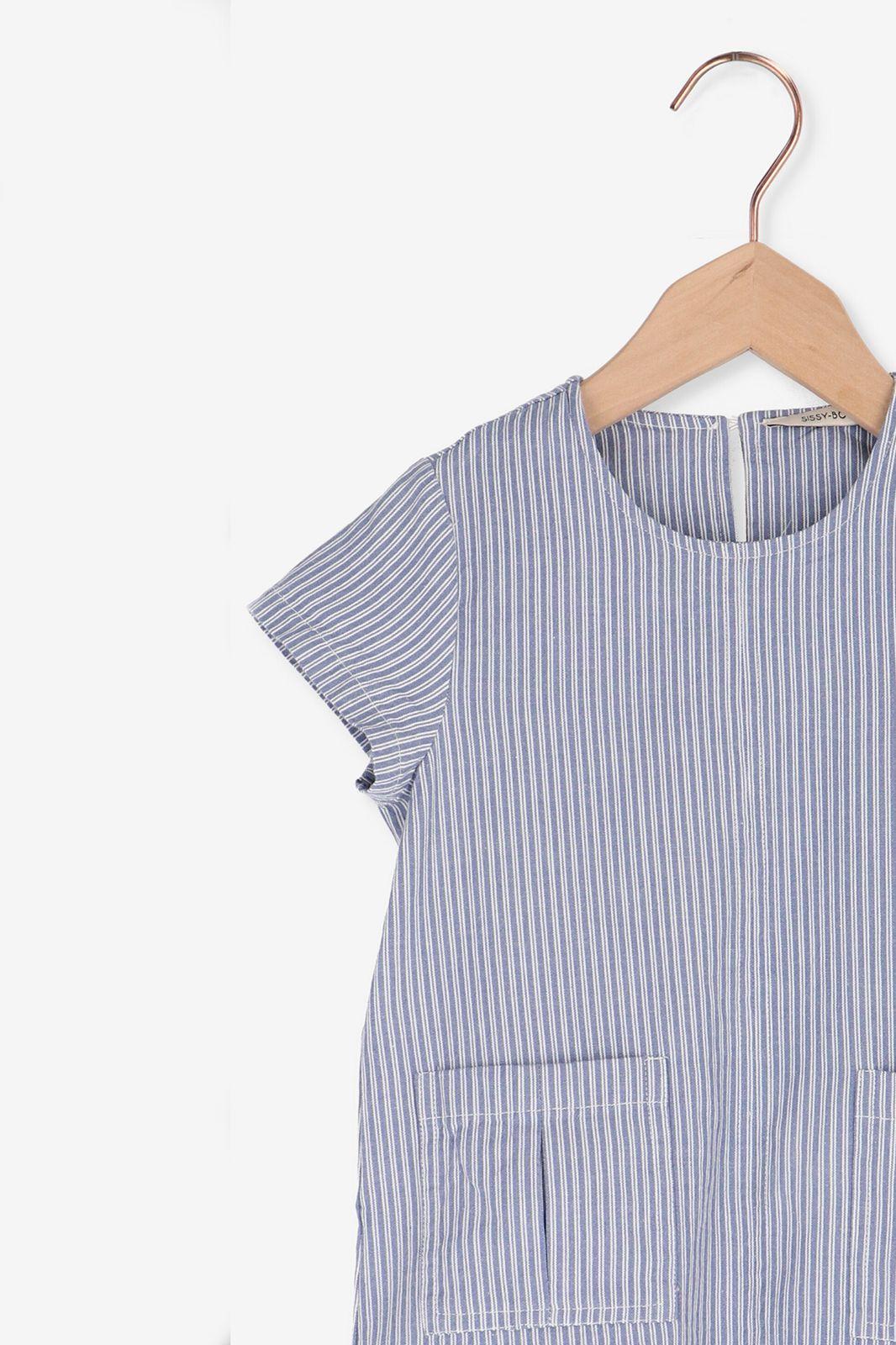 Blauw gestreept t-shirt met zakjes - Kids   Sissy-Boy