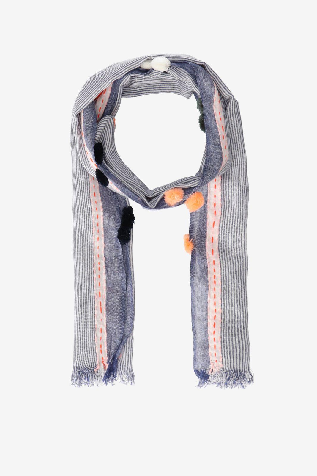 Donkerblauwe sjaal met pompoms
